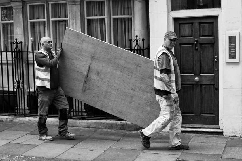 Two Workmen Carry a Plywood Board London Mayfair Leica M-E M9