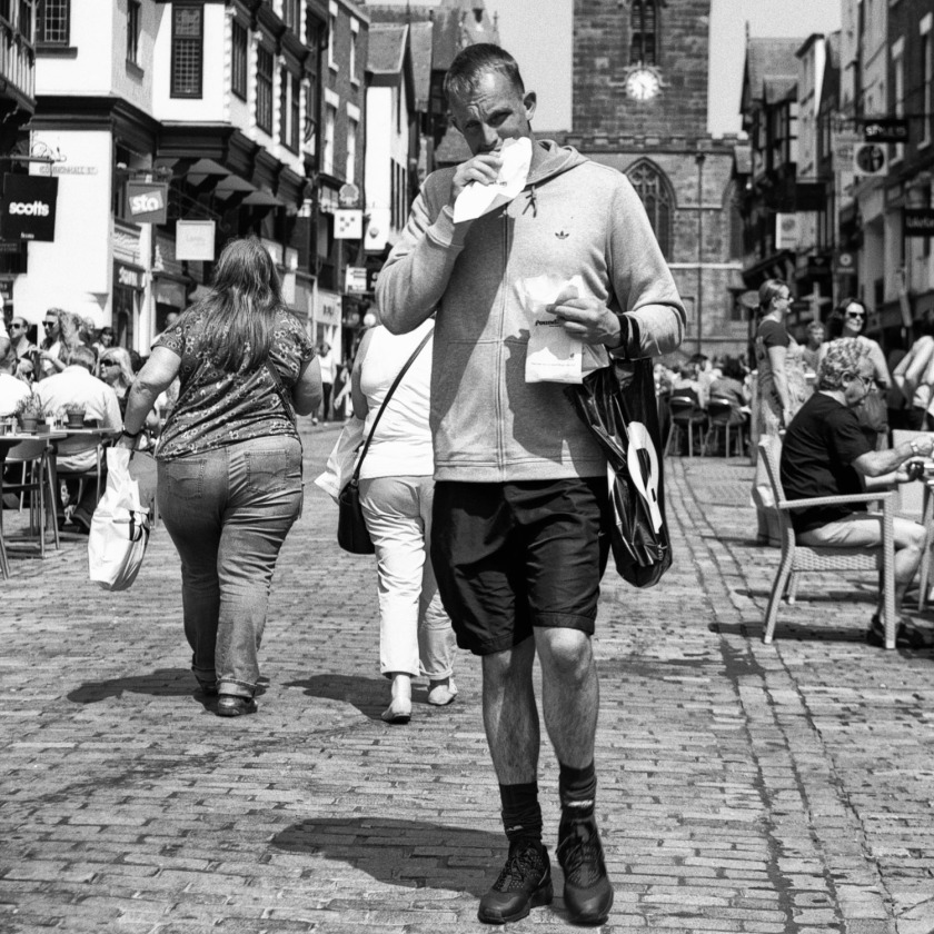 Hot Pasty in the Sun in Chester UK Street Photography Blog Film